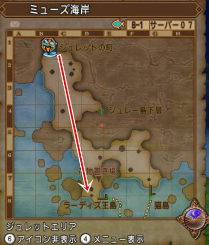 ミューズ海岸の地図