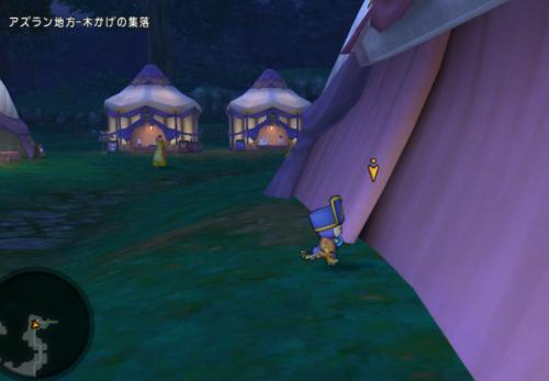 木陰の集落のテント